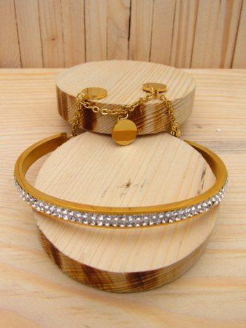 pulsera dorado resina blanco