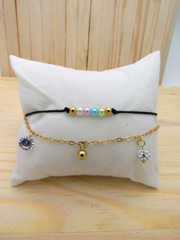 pulsera dorado cordon perlas tuty