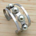 pulsera plateado perlas
