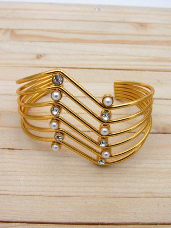 pulsera dorado zircones perlas