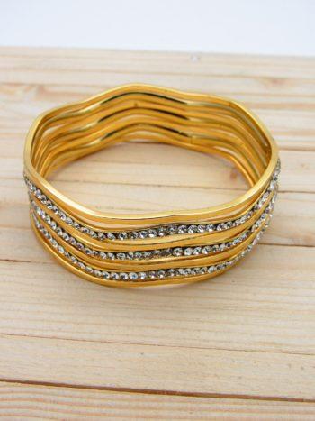 pulsera dorado zircones blanco