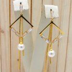 aretes dorado perlas|zircones blanco