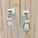 aretes plateado perlas blanco