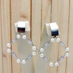 aretes plateado perlas|zircones blanco