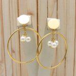 aretes dorado perlas